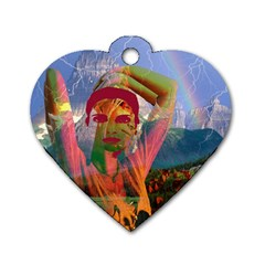 Fusion With The Landscape Dog Tag Heart (one Sided)