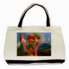 Fusion With The Landscape Twin-sided Black Tote Bag