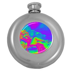 Seaside Holiday Hip Flask (round)