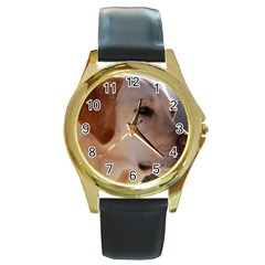 3 Labrador Retriever Round Leather Watch (Gold Rim)