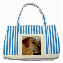 3 Labrador Retriever Blue Striped Tote Bag
