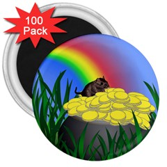 Pot Of Gold With Gerbil 3  Button Magnet (100 Pack)