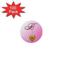 B Golden Rose Heart Locket 1  Mini Button (100 Pack)