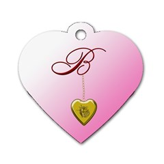 B Golden Rose Heart Locket Dog Tag Heart (one Sided)