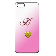 B Golden Rose Heart Locket Apple Iphone 5 Seamless Case (black)