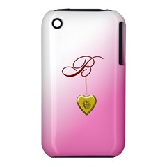B Golden Rose Heart Locket Apple iPhone 3G/3GS Hardshell Case (PC+Silicone)