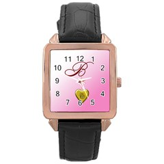 B Golden Rose Heart Locket Rose Gold Leather Watch