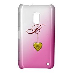 B Golden Rose Heart Locket Nokia Lumia 620 Hardshell Case