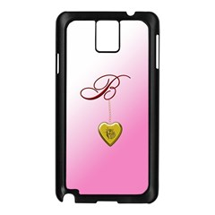 B Golden Rose Heart Locket Samsung Galaxy Note 3 N9005 Case (Black)