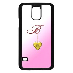 B Golden Rose Heart Locket Samsung Galaxy S5 Case (Black)