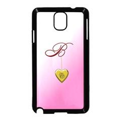 B Golden Rose Heart Locket Samsung Galaxy Note 3 Neo Hardshell Case (black)