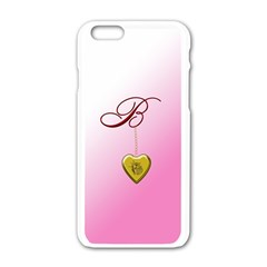 B Golden Rose Heart Locket Apple Iphone 6 White Enamel Case
