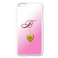 B Golden Rose Heart Locket Apple Iphone 6 Plus Enamel White Case