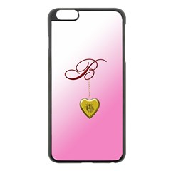 B Golden Rose Heart Locket Apple Iphone 6 Plus Black Enamel Case