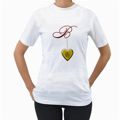 B Golden Rose Heart Locket Women s T-Shirt (White)