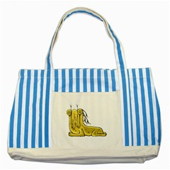 Fantasy Cute Monster Character 2 Blue Striped Tote Bag