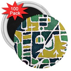 Colorful Tribal Abstract Pattern 3  Button Magnet (100 Pack)