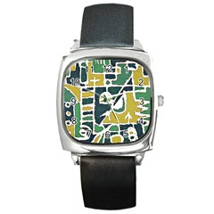 Colorful Tribal Abstract Pattern Square Leather Watch