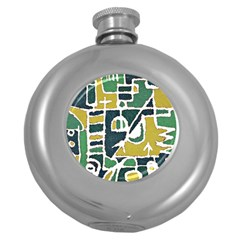 Colorful Tribal Abstract Pattern Hip Flask (round)