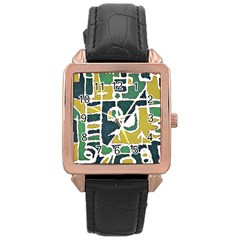 Colorful Tribal Abstract Pattern Rose Gold Leather Watch