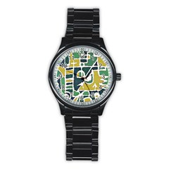 Colorful Tribal Abstract Pattern Sport Metal Watch (black)