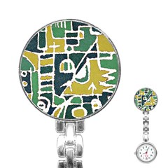 Colorful Tribal Abstract Pattern Stainless Steel Nurses Watch