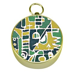 Colorful Tribal Abstract Pattern Gold Compass