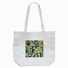 Colorful Tribal Abstract Pattern Tote Bag (White)