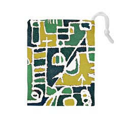 Colorful Tribal Abstract Pattern Drawstring Pouch (Large)