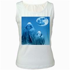 Full Moon Rising Women s Tank Top (white)