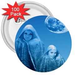 Full Moon Rising 3  Button (100 Pack)