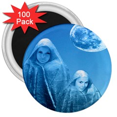 Full Moon Rising 3  Button Magnet (100 Pack)