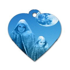 Full Moon Rising Dog Tag Heart (two Sided)