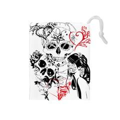 Skull Love Affair Drawstring Pouch (medium)