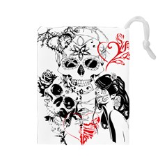 Skull Love Affair Drawstring Pouch (Large)