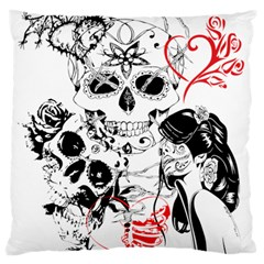 Skull Love Affair Large Flano Cushion Case (One Side)