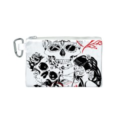Skull Love Affair Canvas Cosmetic Bag (small)