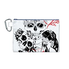 Skull Love Affair Canvas Cosmetic Bag (Medium)