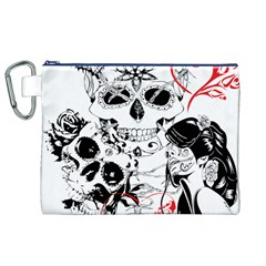 Skull Love Affair Canvas Cosmetic Bag (XL)