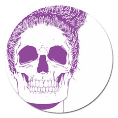 Purple Skull Bun Up Magnet 5  (round)