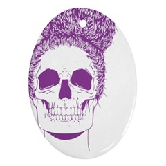 Purple Skull Bun Up Oval Ornament (two Sides)