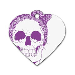 Purple Skull Bun Up Dog Tag Heart (one Sided)