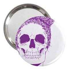 Purple Skull Bun Up 3  Handbag Mirror