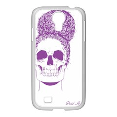 Purple Skull Bun Up Samsung Galaxy S4 I9500/ I9505 Case (white)