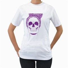 Purple Skull Bun Up Women s T-Shirt (White)