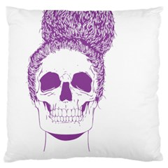 Purple Skull Bun Up Large Flano Cushion Case (one Side)
