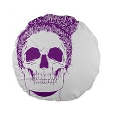 Purple Skull Bun Up 15  Premium Flano Round Cushion