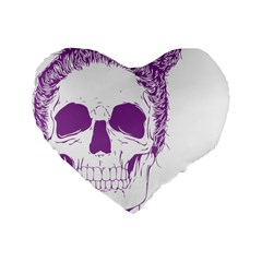 Purple Skull Bun Up 16  Premium Flano Heart Shape Cushion