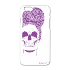 Purple Skull Bun Up Apple Iphone 6 White Enamel Case