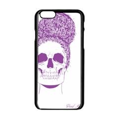 Purple Skull Bun Up Apple Iphone 6 Black Enamel Case